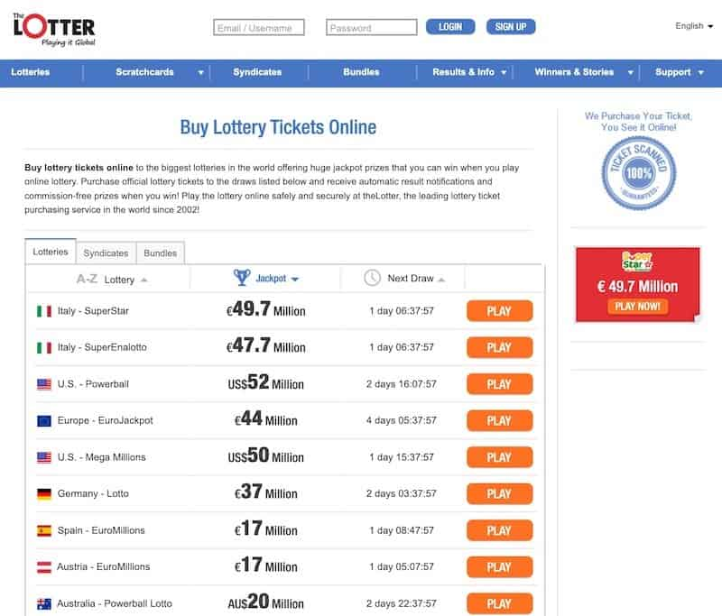 Lottery selection screen at theLotter lottery website