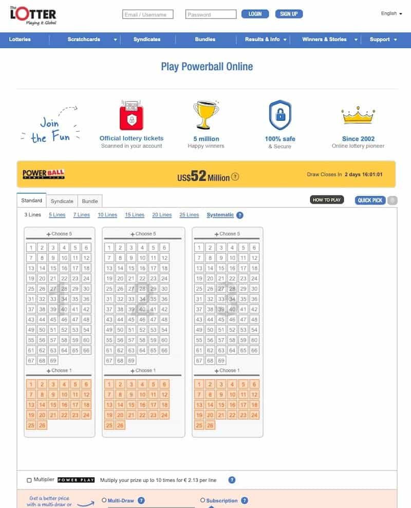 Lottery ticket view at theLotter lottery website