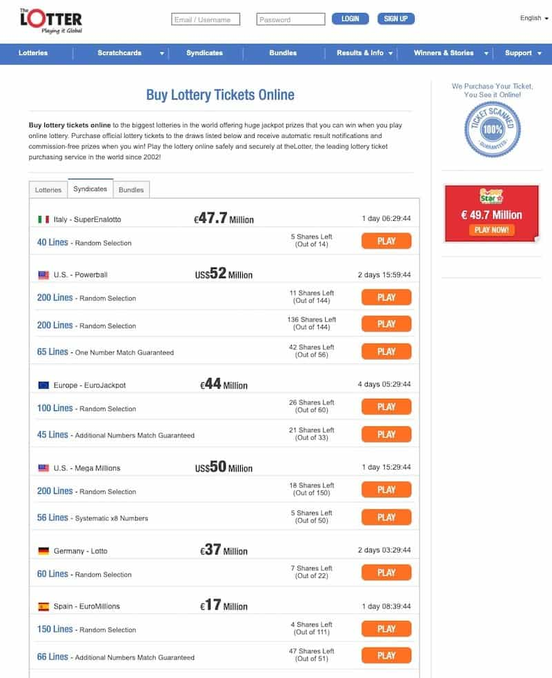 Lottery syndicate view at theLotter lottery website