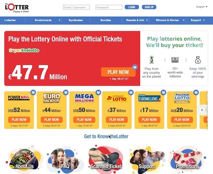 Main home page view of theLotter lottery website