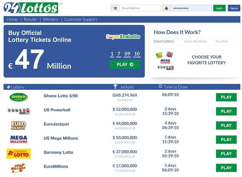 Main home page view of 24lottos lottery website