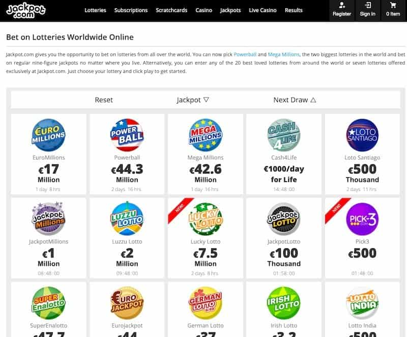 Lottery selection view at jackpotcom lottery website