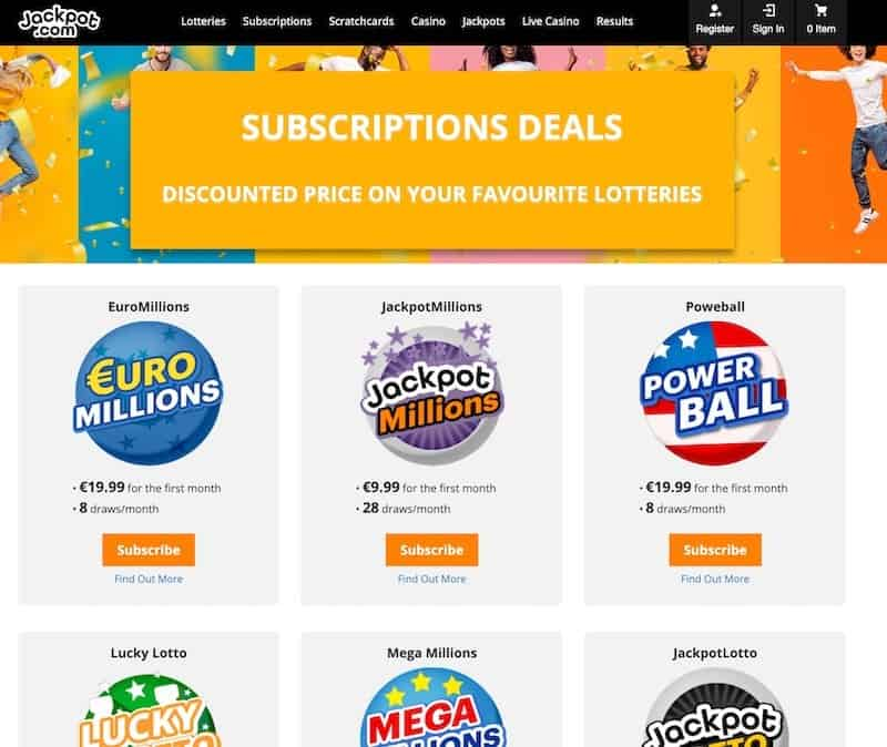 Subscription view at jackpotcom lottery website