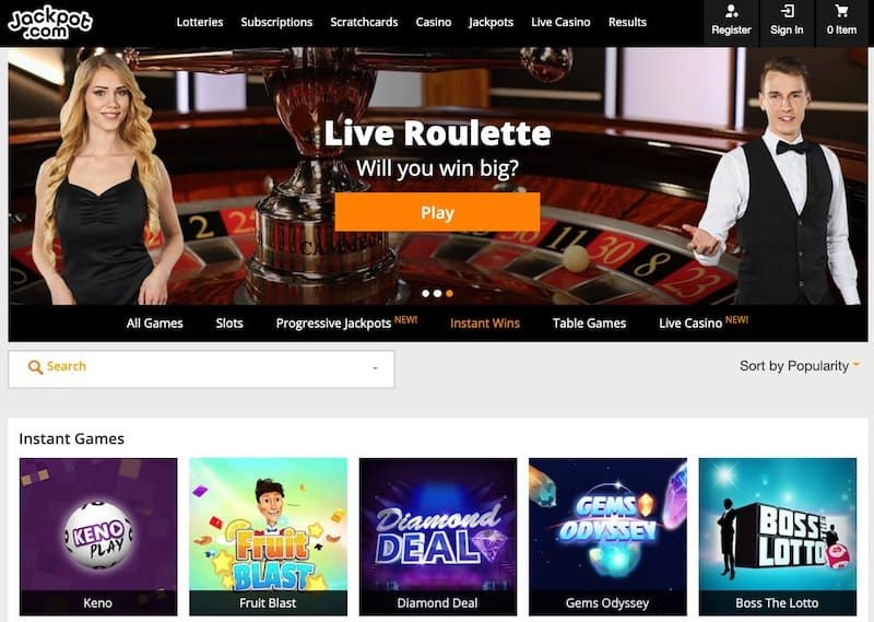 Live games selection view at jackpotcom lottery website