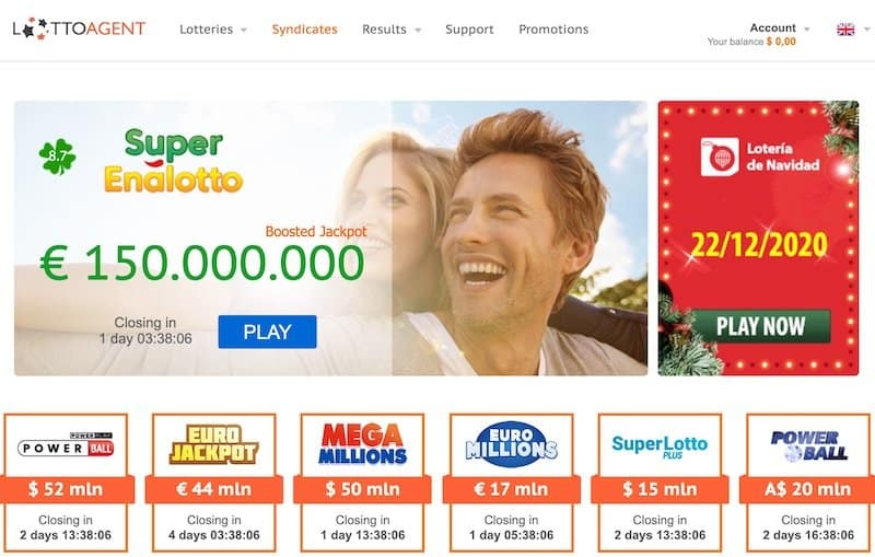 Main home page view of Lottoagent lottery website