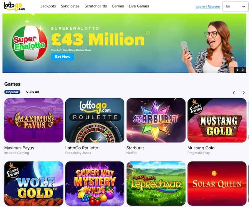 Main home page view of Lottogo lottery website