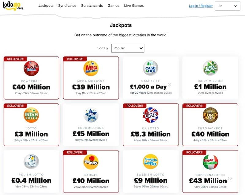 Lottery selection screen at Lottogo lottery website