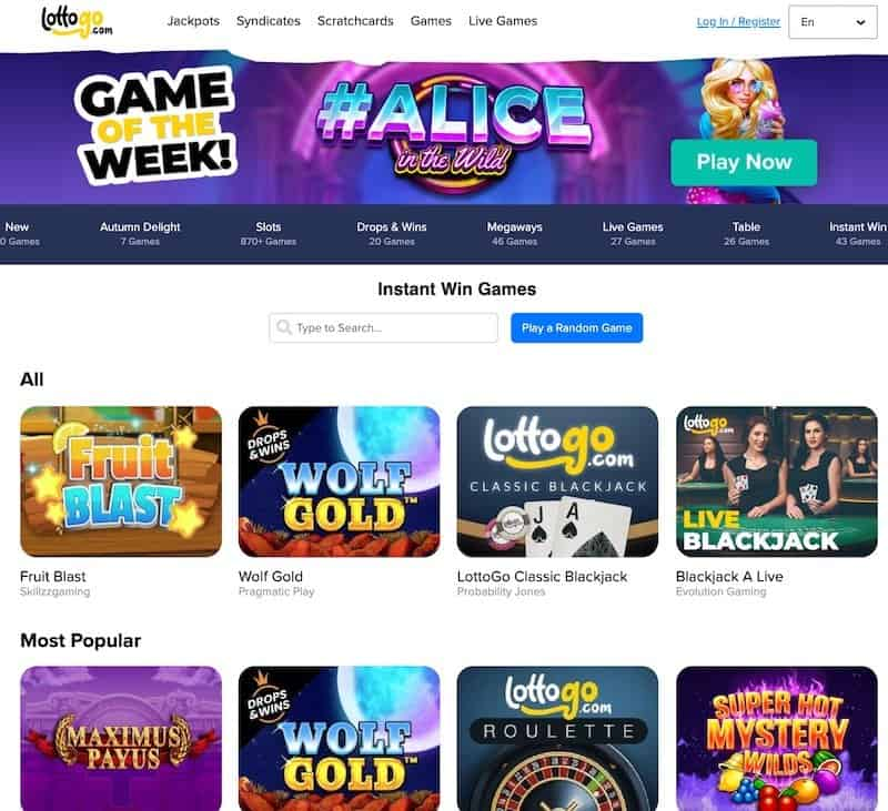 Instant win games view at Lottogo lottery website