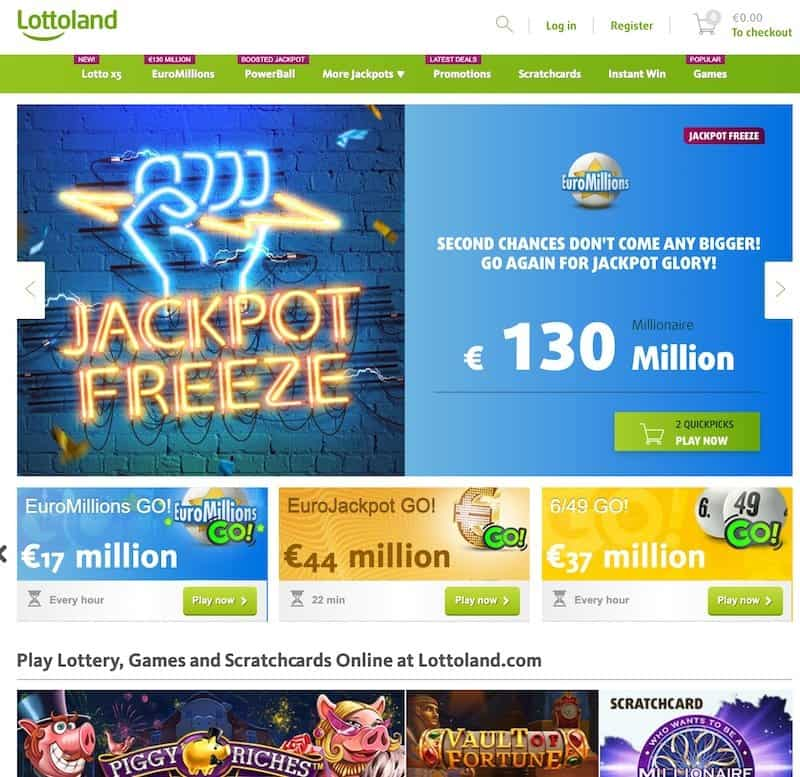 Main home page view of Lottoland lottery website