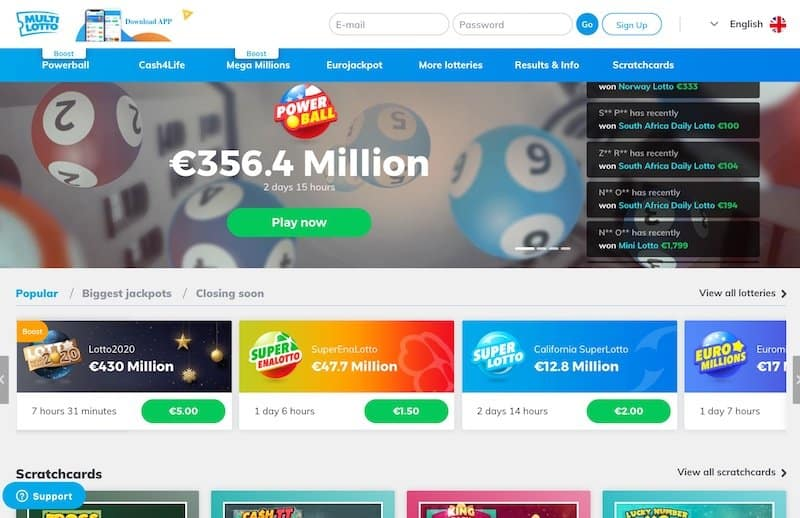 Main home page view of Multilotto lottery website