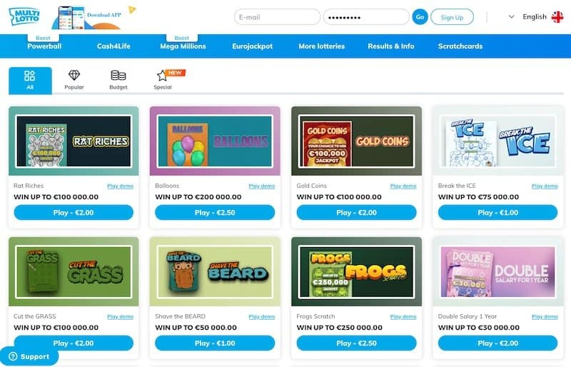 Scratch card games view at Multilotto lottery website