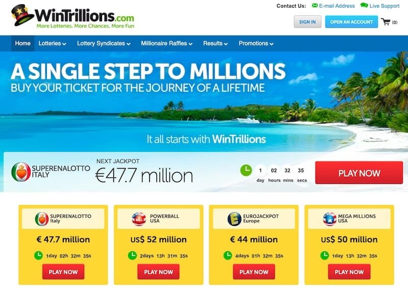 Main home page view of WinTrillions lottery website