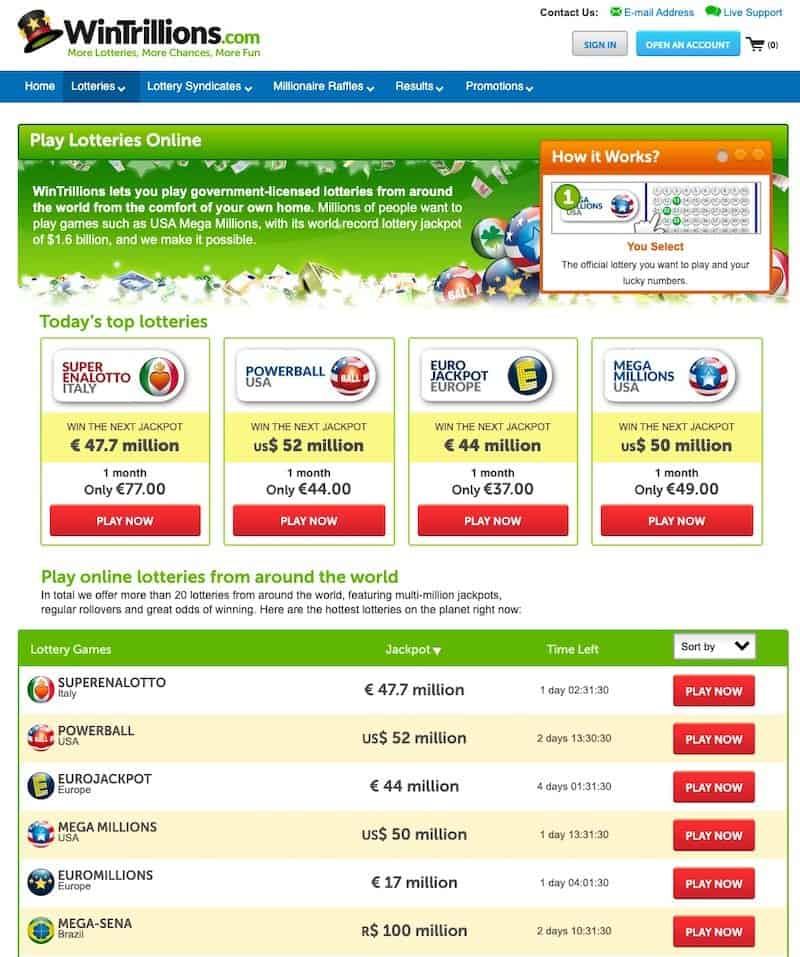 Lottery selection screen at Wintrillions lottery website