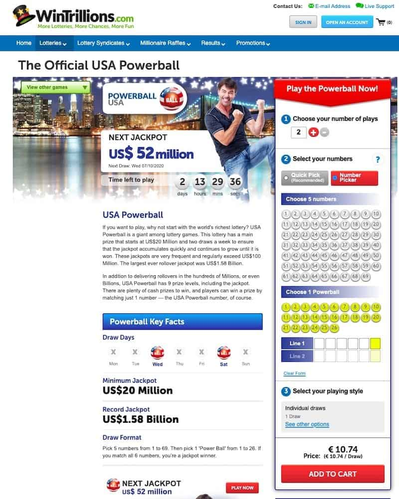 US powerball number selection view at Wintrillions lottery website