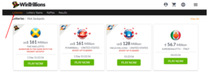Play Now button at Wintrillions lottery website