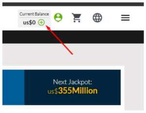 To deposit funds into your account simply click on the plus icon located at the top of the page