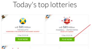 Play Now button view at Wintrillions lottery website