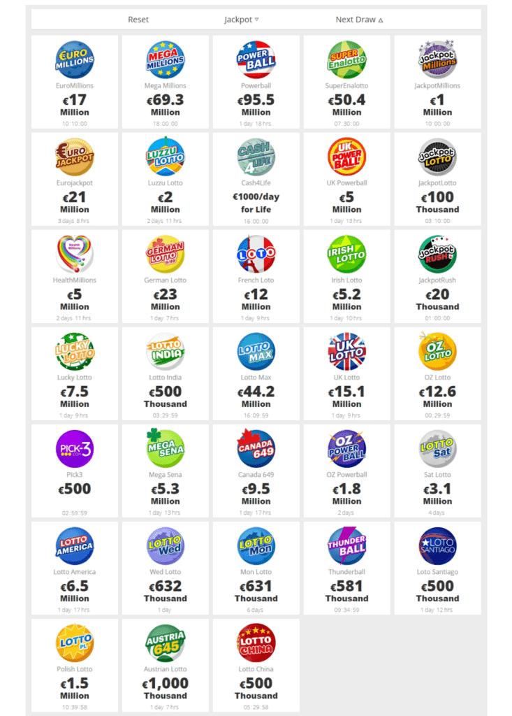 Jackpot.com Lotteries