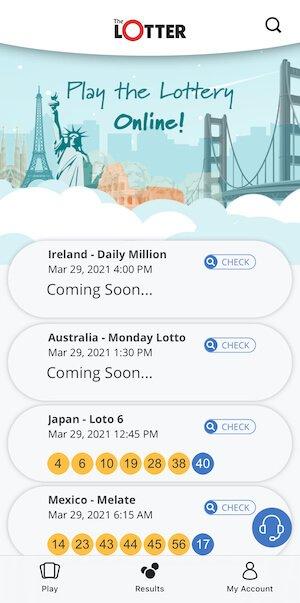 TheLotter ios app screen
