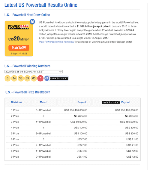 TheLotter review: US Powerball results screen